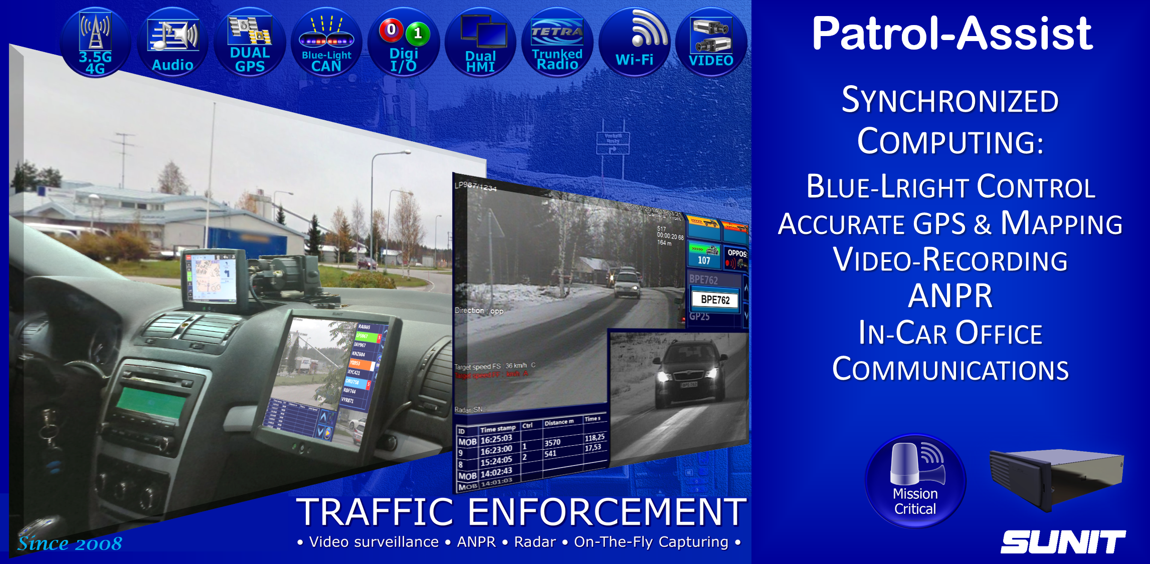 SUNIT Computers for Police Traffic Enforcement and ANPR