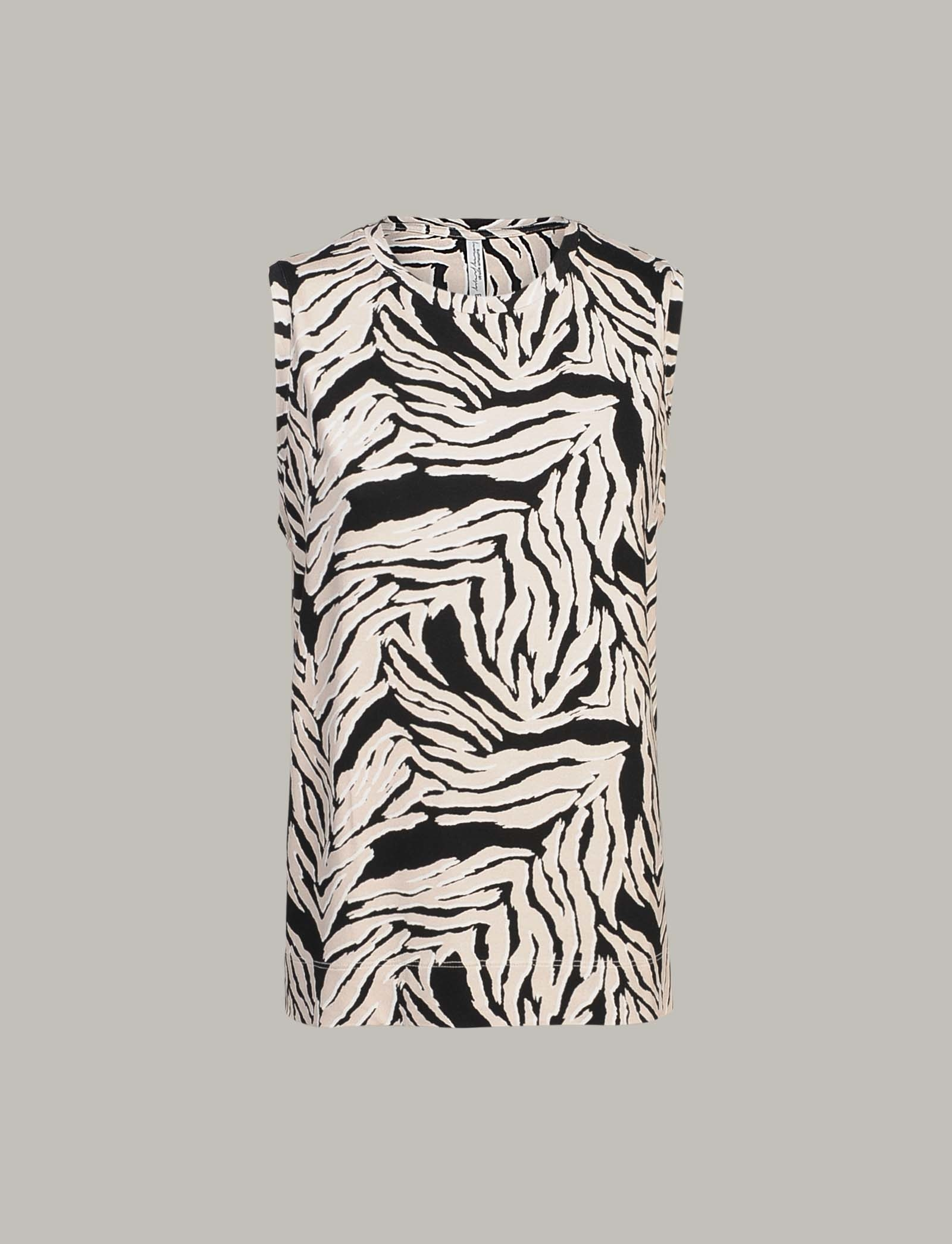 Summum Woman Top Zebra Print Sahara Dust