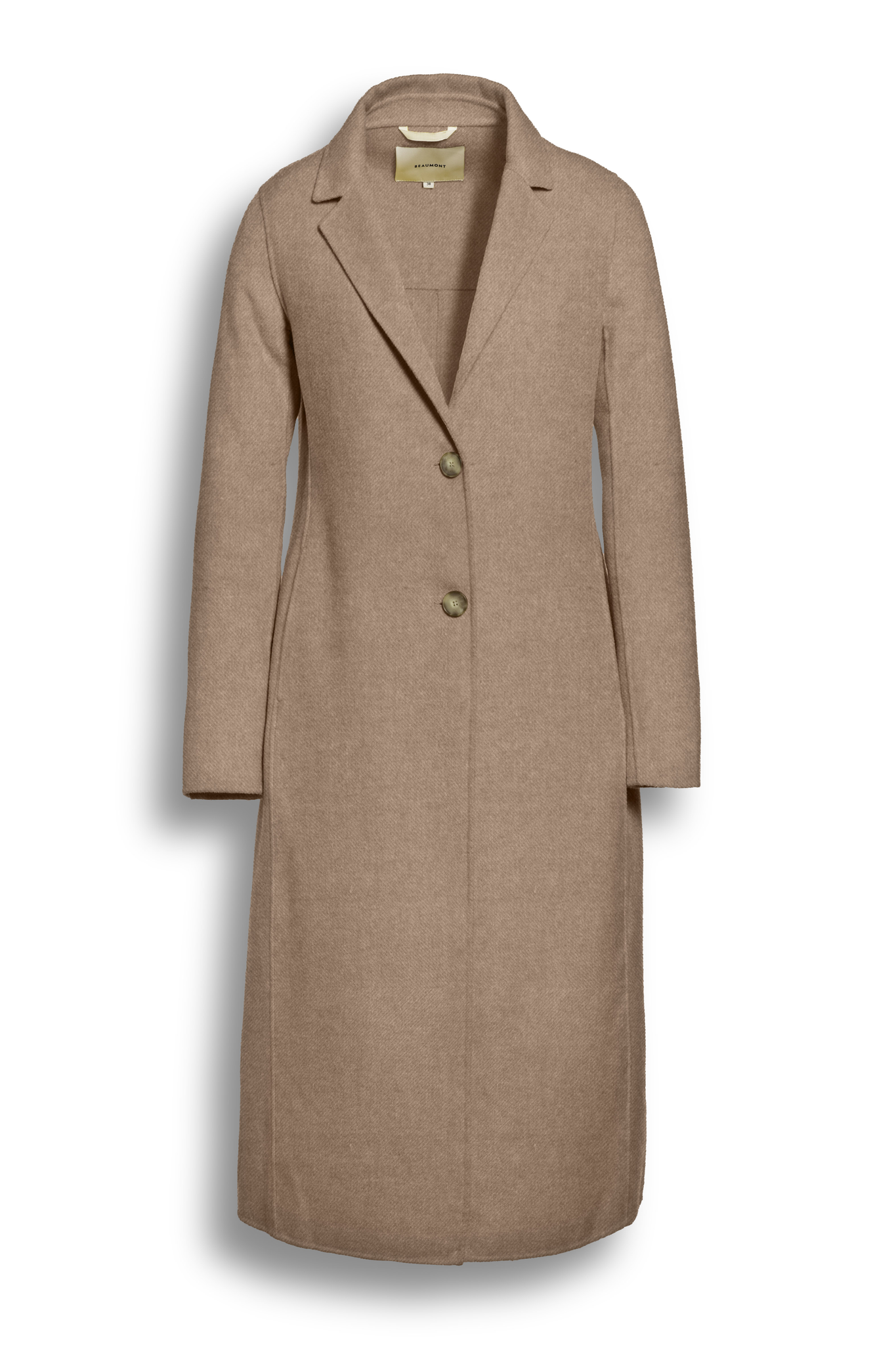 BEAUMONT Long Summer Coat Wool, Biscuit