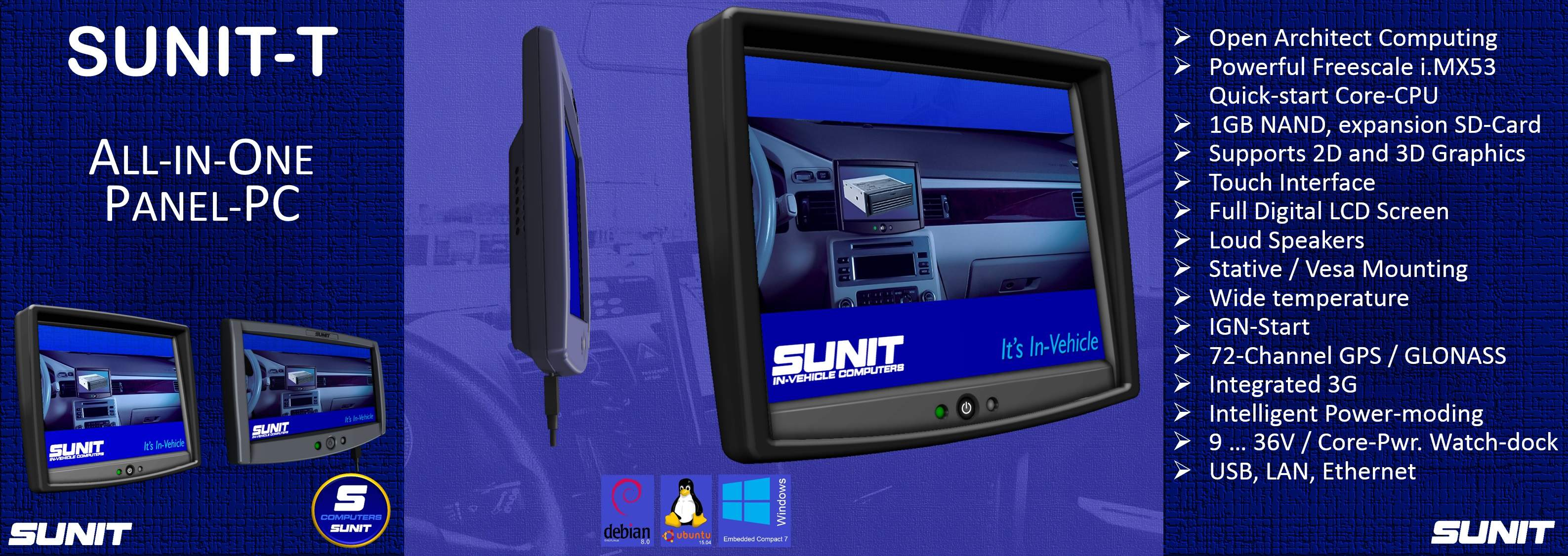 Sunit-T All-in-One Panel-PC for Industry and Fleets