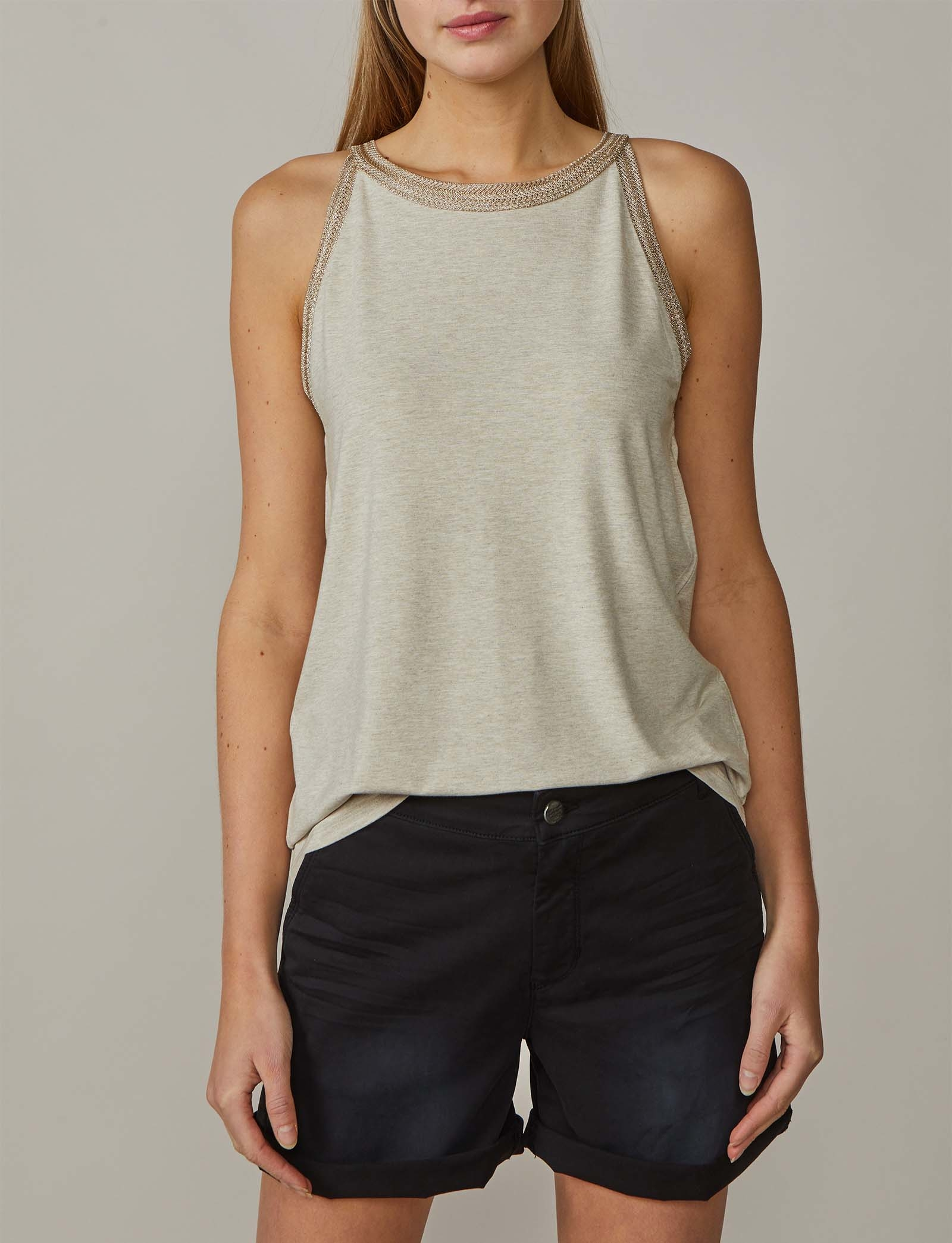 Summum Woman Lurex Halter Top Sahara Dust