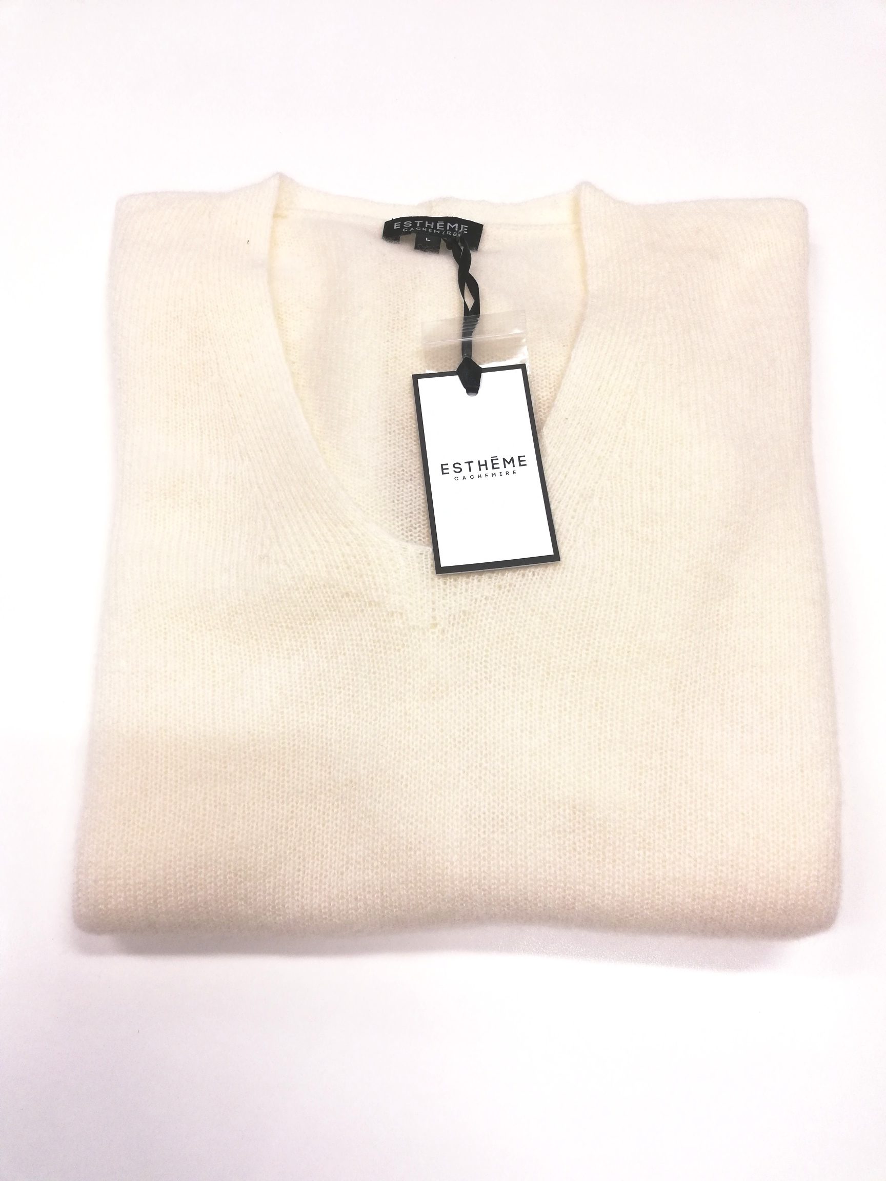 ESTHEME Casmere V-neck Knit, Off White