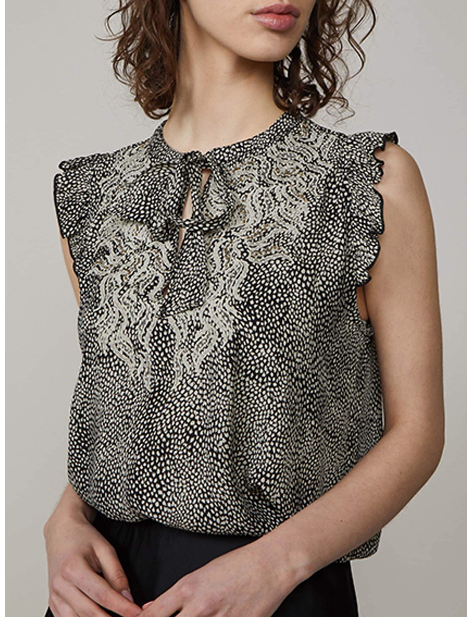 Summum Woman Top Animal Print Sahara Dust