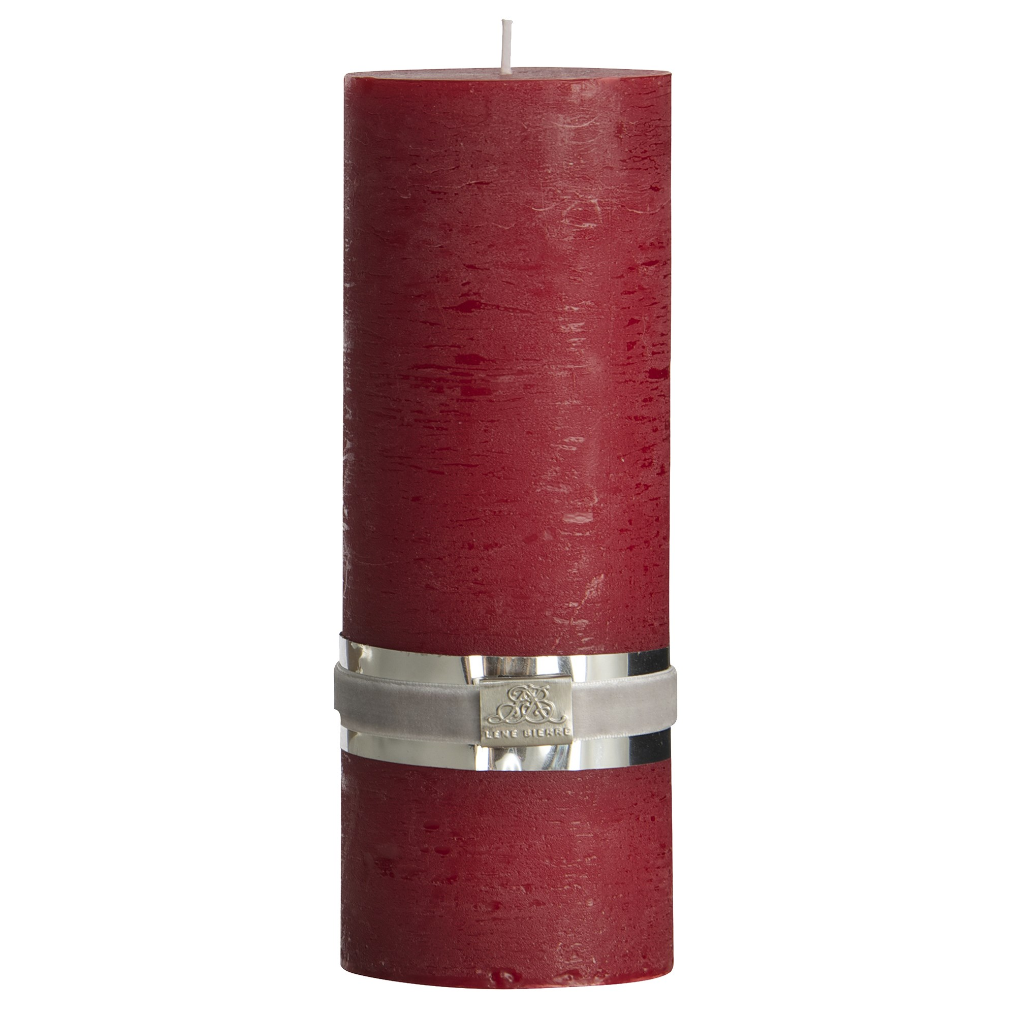 LENE BJERRE - Rustic Pillar Candle 20 CM, Dark Red