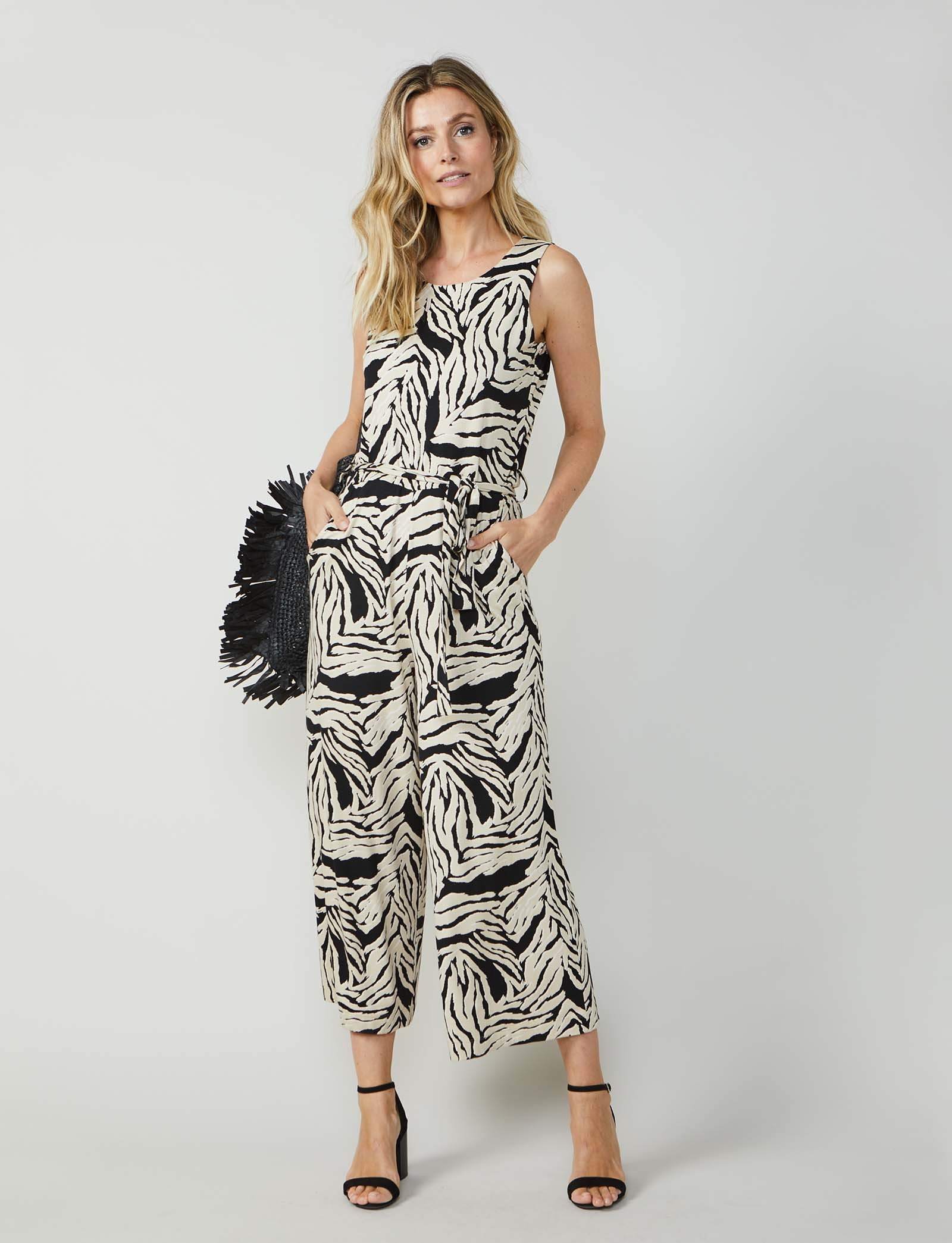 Summum Woman Belted Jumpsuit Zebra Print Sahara Dust