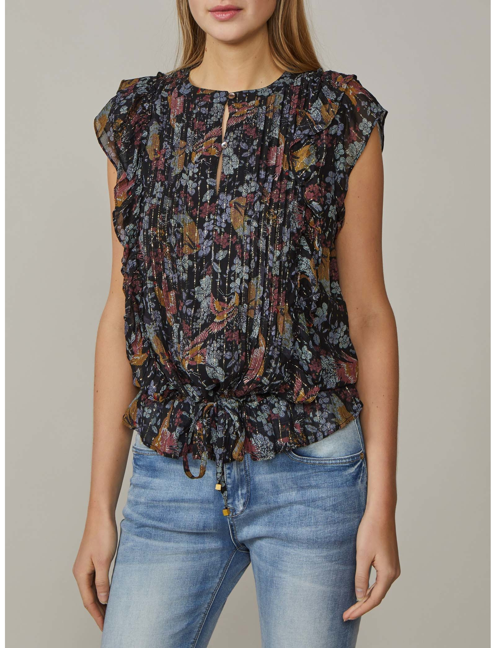 Summum Woman Ruffle Top Short slv Bird Print Black