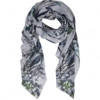 BELLA BALLOU ASIAN GARDEN Cotton/Modal Scarf, Light Grey