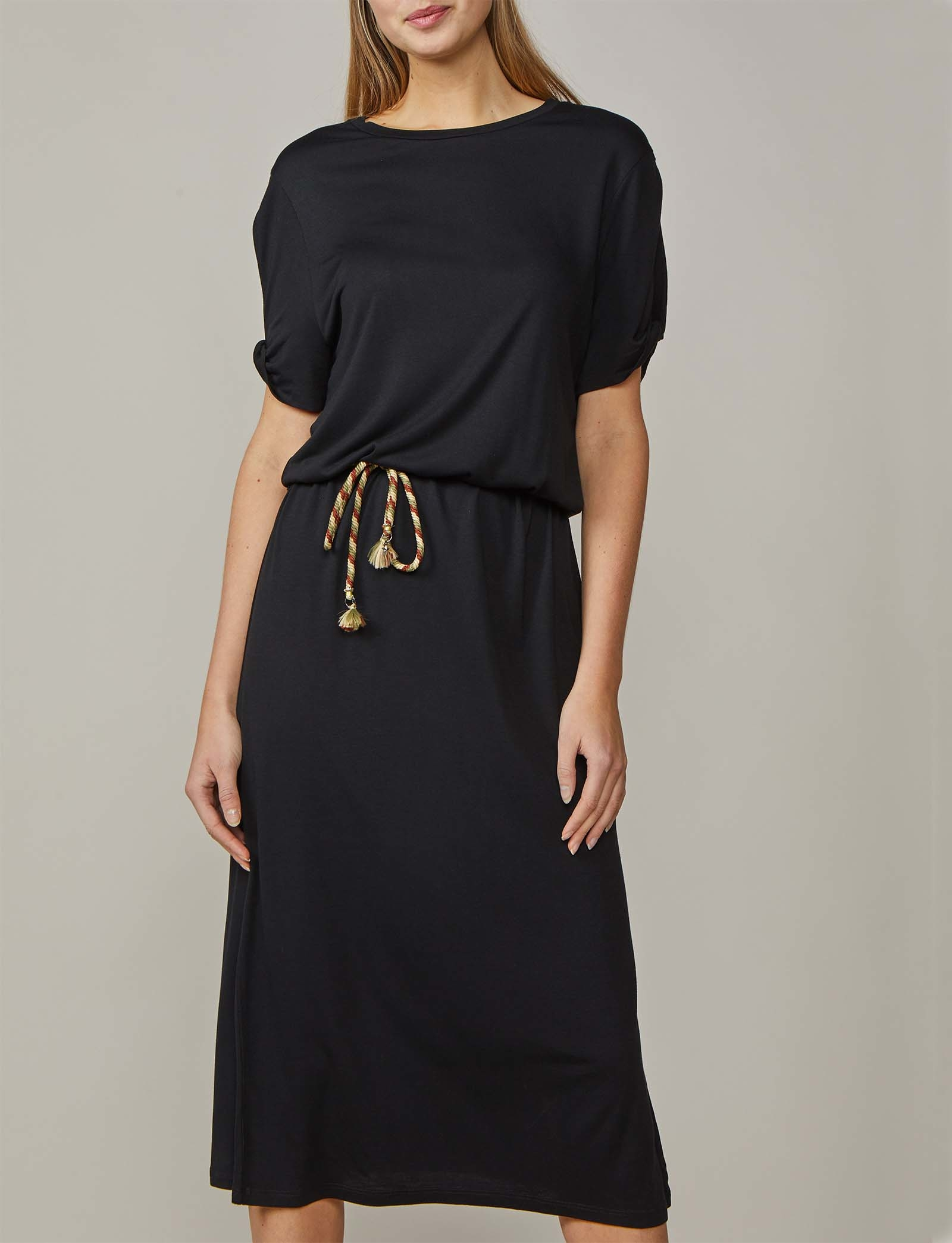 Summum Woman Maxi Dress Black and Mahogany
