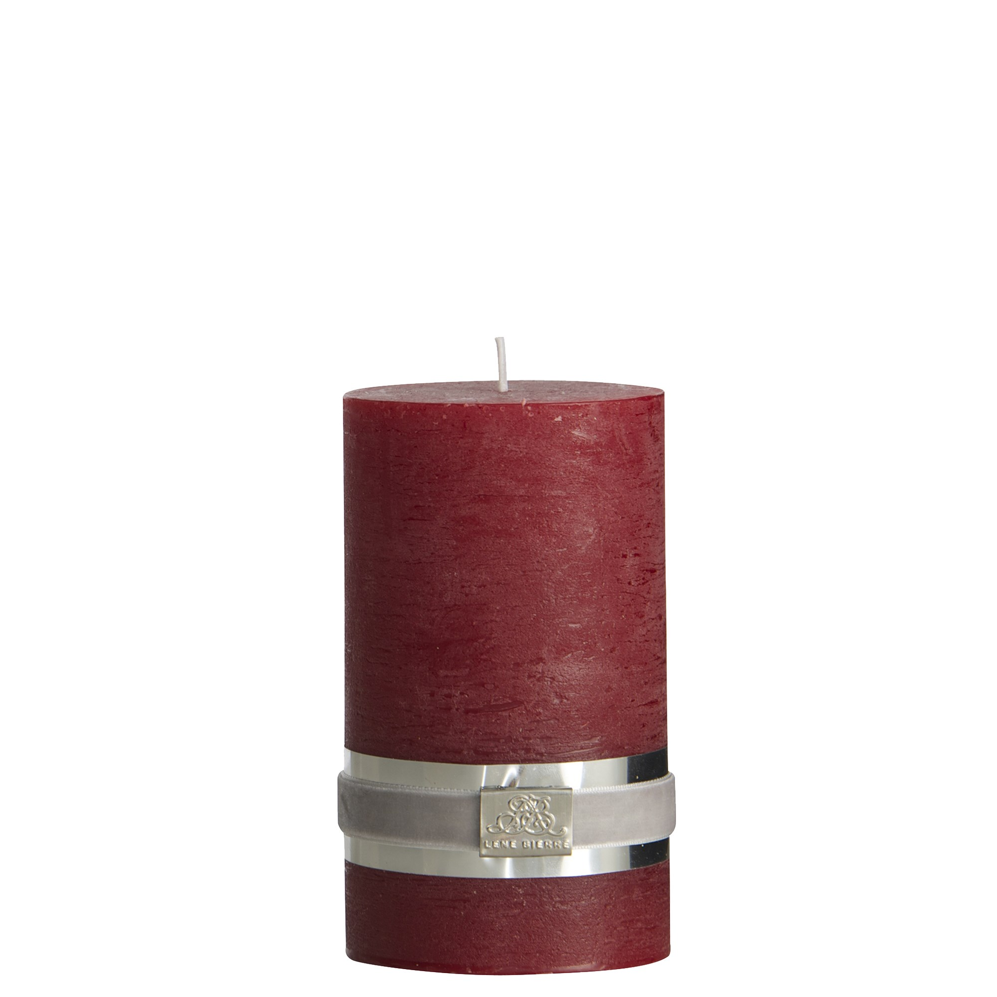 LENE BJERRE - Rustic Pillar Candle 12.5 CM, Dark Red