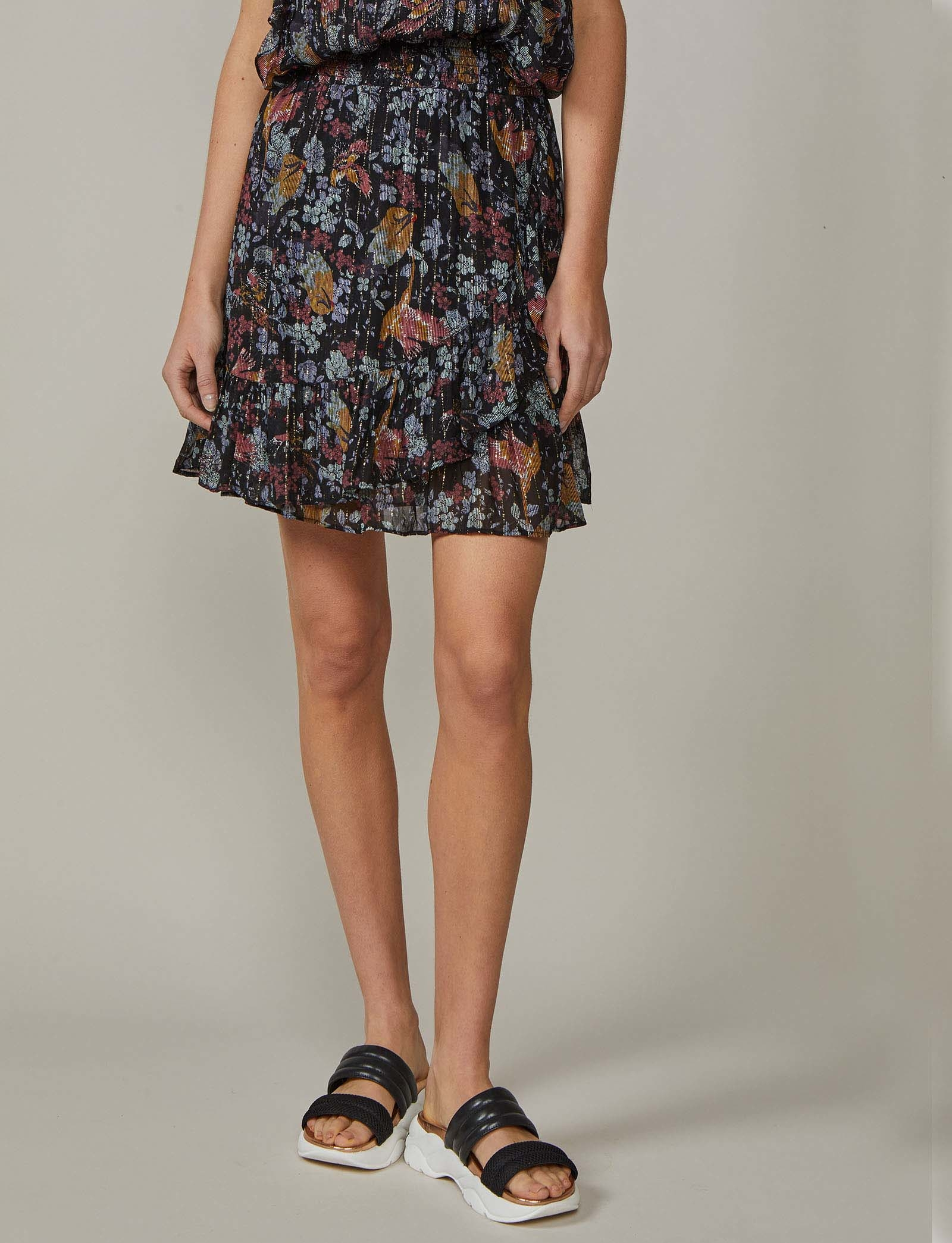 Summum Woman Volant Skirt Bird Print Black
