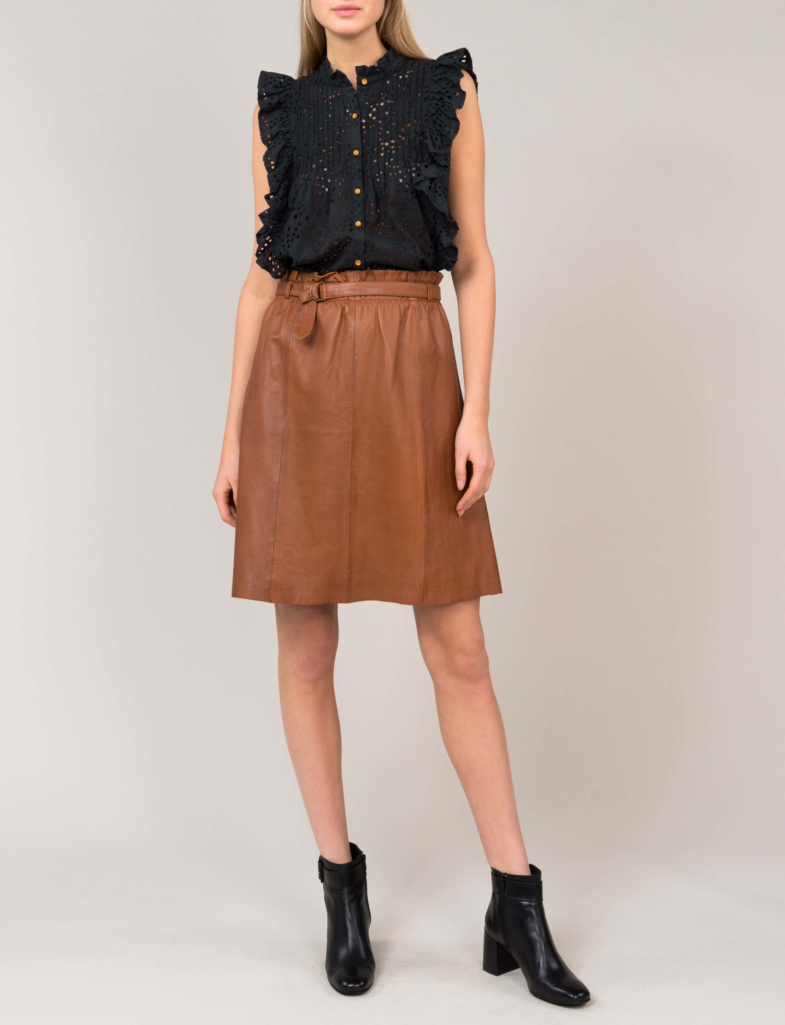 Summum Woman Leather Skirt Almond