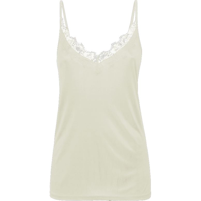Summum Woman Singlet Lace Shiny, White Sand