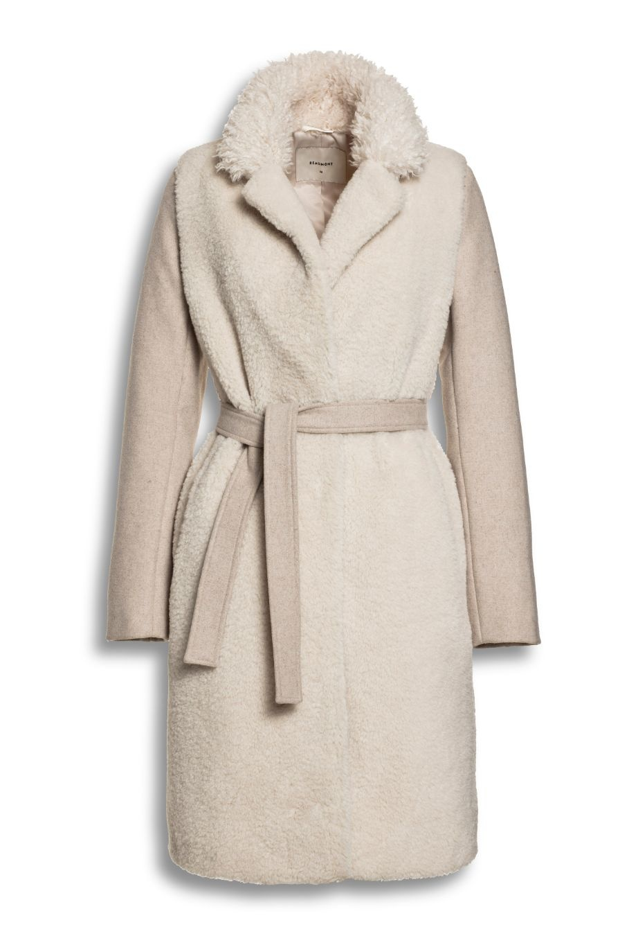BEAUMONT Lama Mix Belt Coat Soft Sand