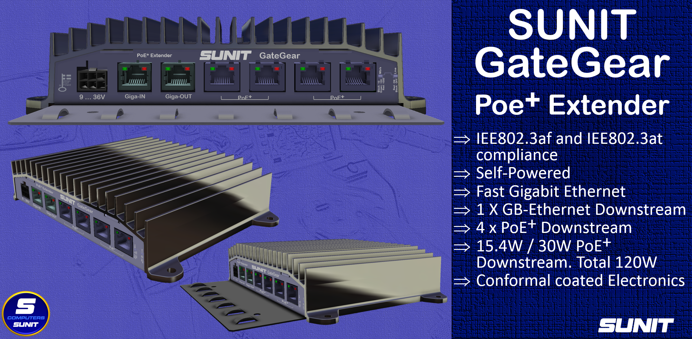 SUNIT Gategear - Powered PoE Plus Extender