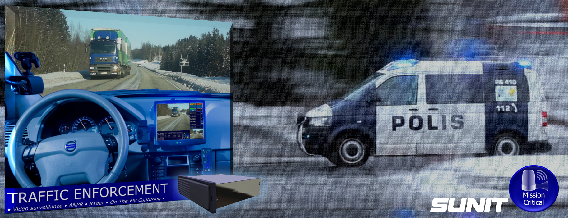 SUNIT Computers for Police Car, Patrol Car, ANPR,  Traffic Surveillance, Mission Critical